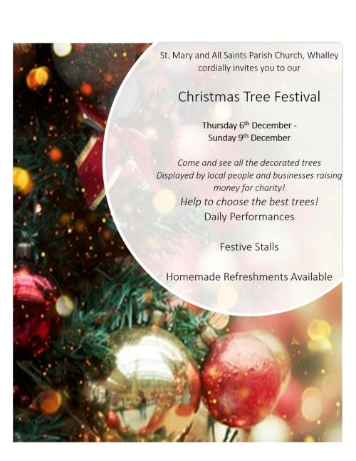 Poster for Christmas Tree Festival Whalley.