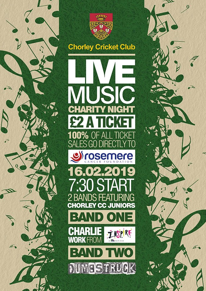 Poster for Chorley cricket Club live music