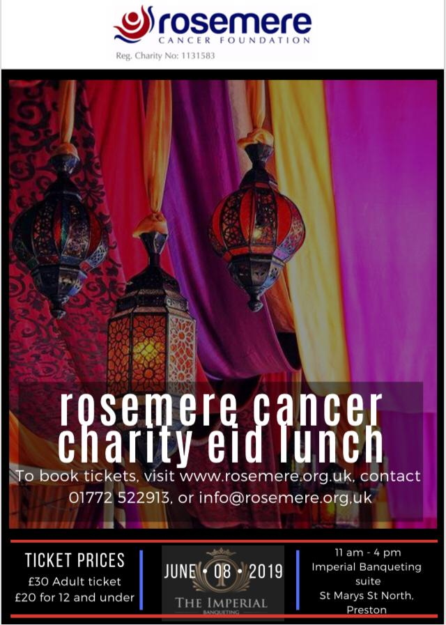 EID Charity Lunch for Rosemere Poster