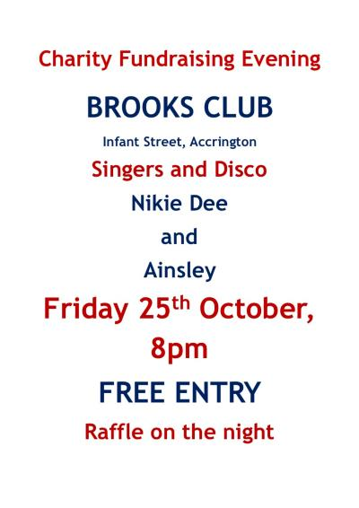 Brooks Club Charity Night Poster