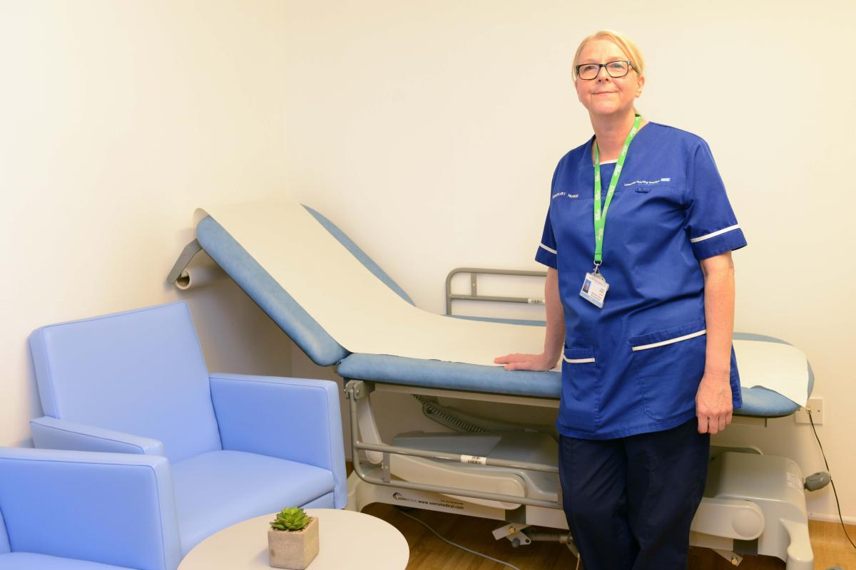 Ward 11 clinic room - Diane Sheard macmillan cns in refurbed room.jpg